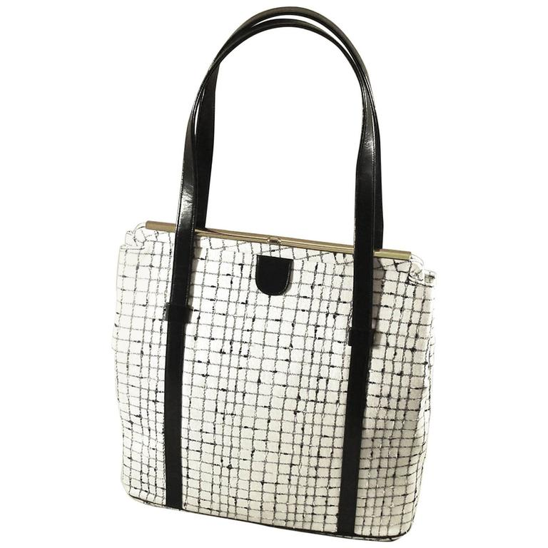 1stdibs Unusual Navy And Ivory White Plaid Bag With Double Handles. Spring lWr4xvYN