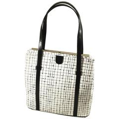 Unusual Navy and Ivory White Plaid Bag with Double Handles.  SPRING!