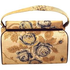 Rare Structured Purse in Floral, Embroidered Fabric by Nettie Rosenstein