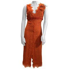 Dolce & Gabanna Lace Orange V Neck Dress