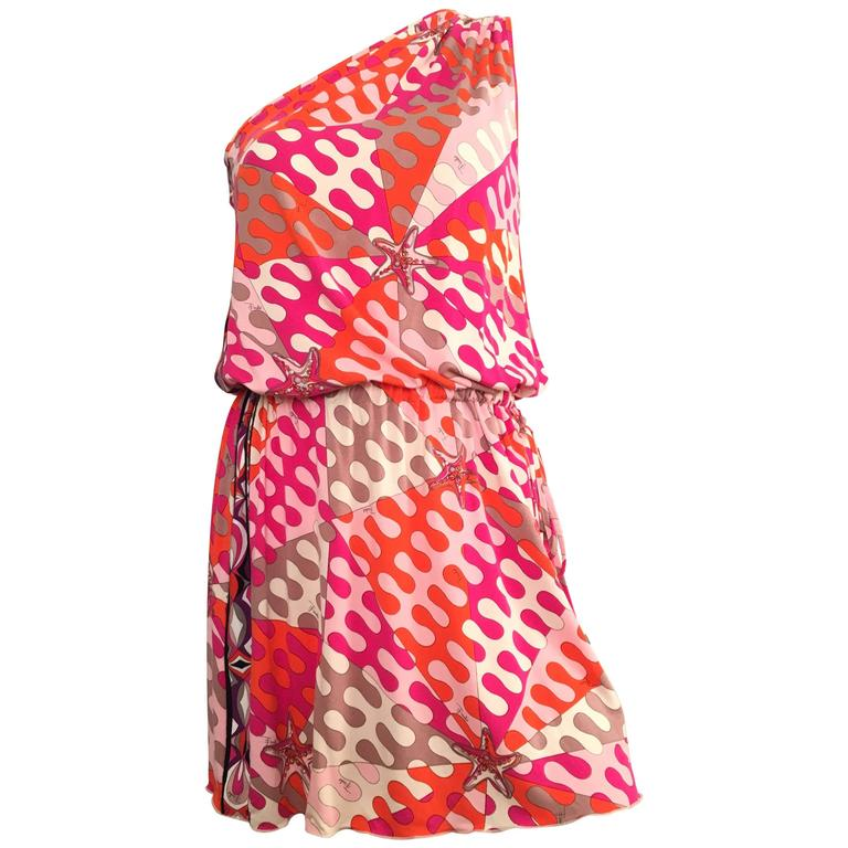 Emilio Pucci Starfish Off The Shoulder Dress Size 6.  For Sale