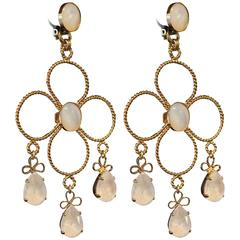 Gold Plated White Floral Statement Earrings