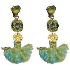 Green Tassel Gold-plated Drop Earrings