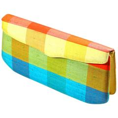 Colorful Mid-Century Modern Plaid Clutch  Spring!