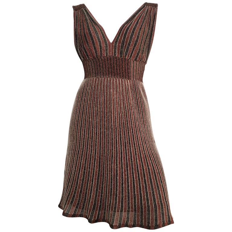 Missoni Metallic Knit Cocktail Dress Size 4/6.
