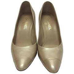 Chanel Patent Leather Cream Pumps