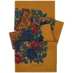 ETRO Gold Multicolor Floral Print Large Wool Silk Wrap Scarf