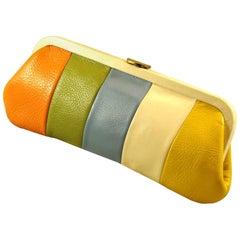 RARE & LONG Rainbow Pebble Grain Leather Clutch  SPRING!