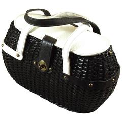 Black and White Woven Purse with Asymmetrical Leather Trim for Summer