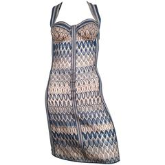 Missoni Mare Blue Knit Criss Cross Dress Size 4/6.