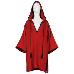 Yves Saint Laurent Burgundy Terry Cloth Tassel Robe