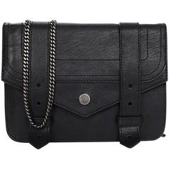 Proenza Schouler Black Leather PS1 Large Chain Wallet WOC Crossbody Bag