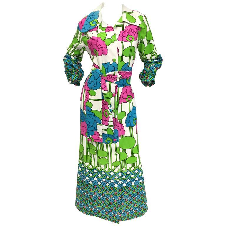 Lanvin Mod Meets Art Nouveau Lily Pad Floral Dress, 1970s