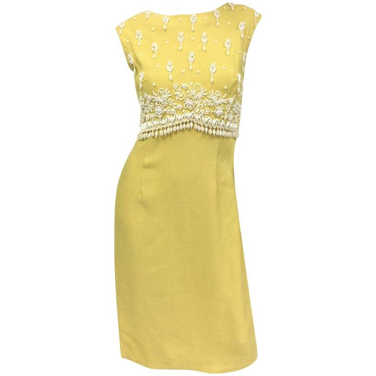 1960s Harvey Berin Sunshine Yellow Beaded Shift
