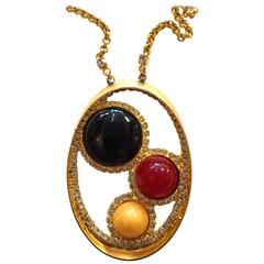 DeLillo Modernist Goldtone Oval Pendant Necklace Cabochon Diamante Detail