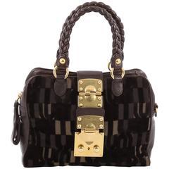 Miu Miu Coffer Convertible Satchel Jacquard Velvet with Leather Small