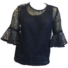Prose & Poetry NWT High Low Lace Navy Top