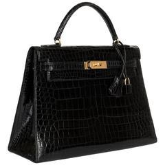 Pristine Hermes 32cm Shiny Black Crocodile Kelly Bag with Shoulder Strap and GHW