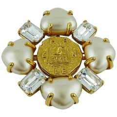 Chanel Spring 1993 Massive Jewelled Pearl Brooch
