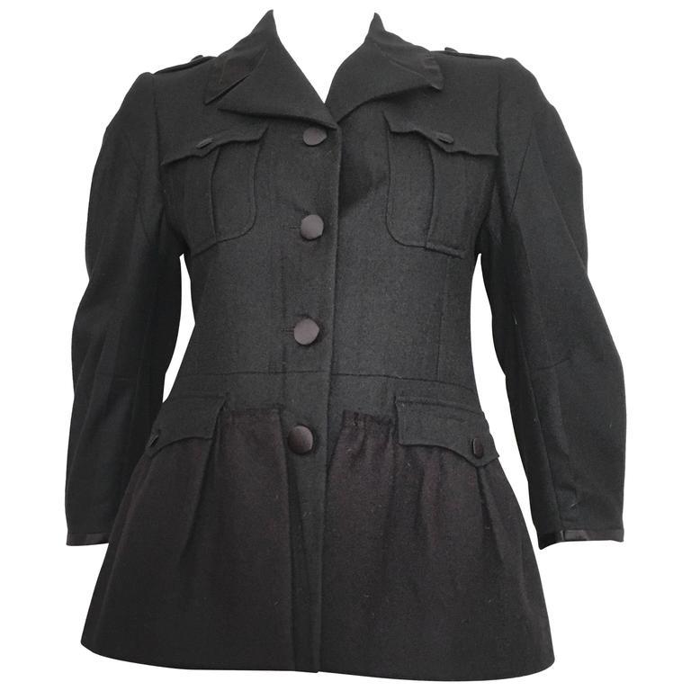 bc1a55fb8f5b Miu Miu Black Wool Silk Trim Peplum Jacket Size 4. For Sale at 1stdibs