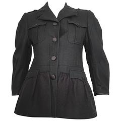 Miu Miu Black Wool Silk Trim Peplum Jacket Size 4.