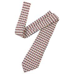 Men's Iconic Vintage Hermes Necktie with French Flags Flying