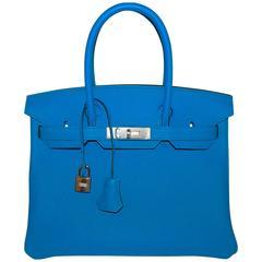 "Hermes Blue Zanzibar TOGO ""Verso"" Malachite 30cm Birkin Palladium Limited"