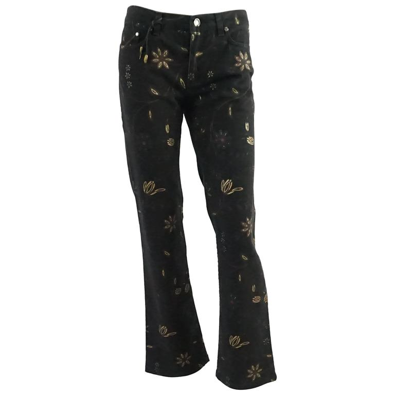Roberto Cavalli Black Jeans with Gold Metallic Floral Print, Size S - NWT