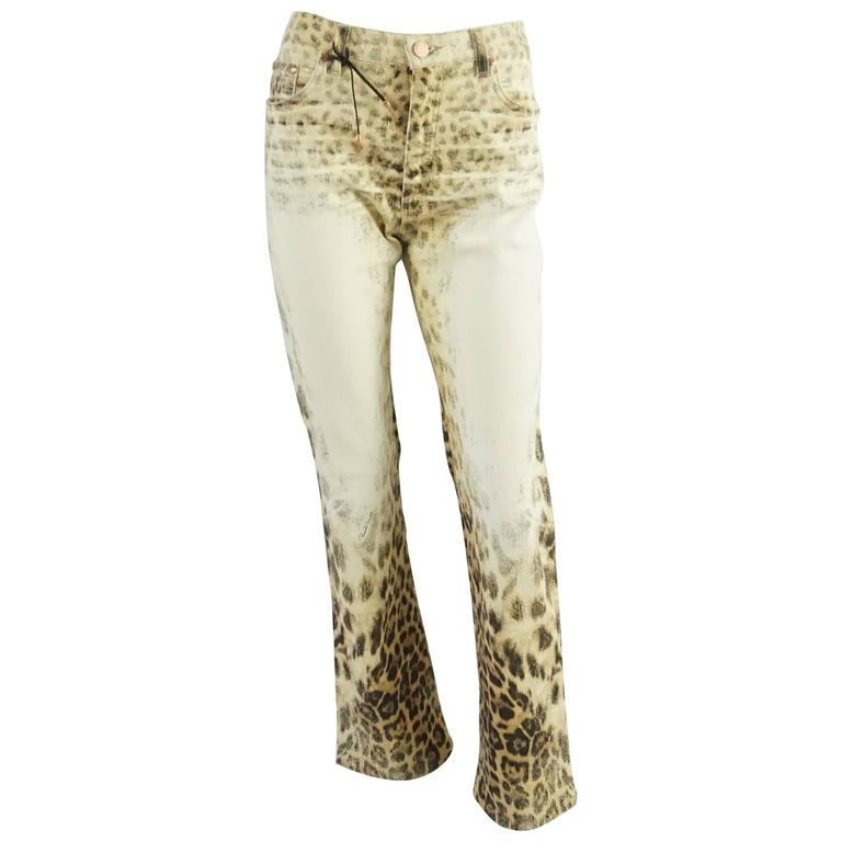 Roberto Cavalli Ivory and Animal Print Jeans - S For Sale