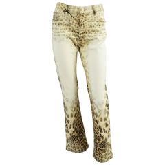 Roberto Cavalli Ivory and Animal Print Jeans - S