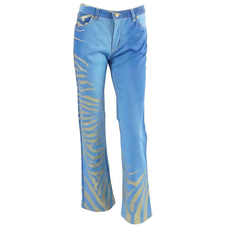 Roberto Cavalli Blue Jeans with Gold Glitter Zebra Print, Size S