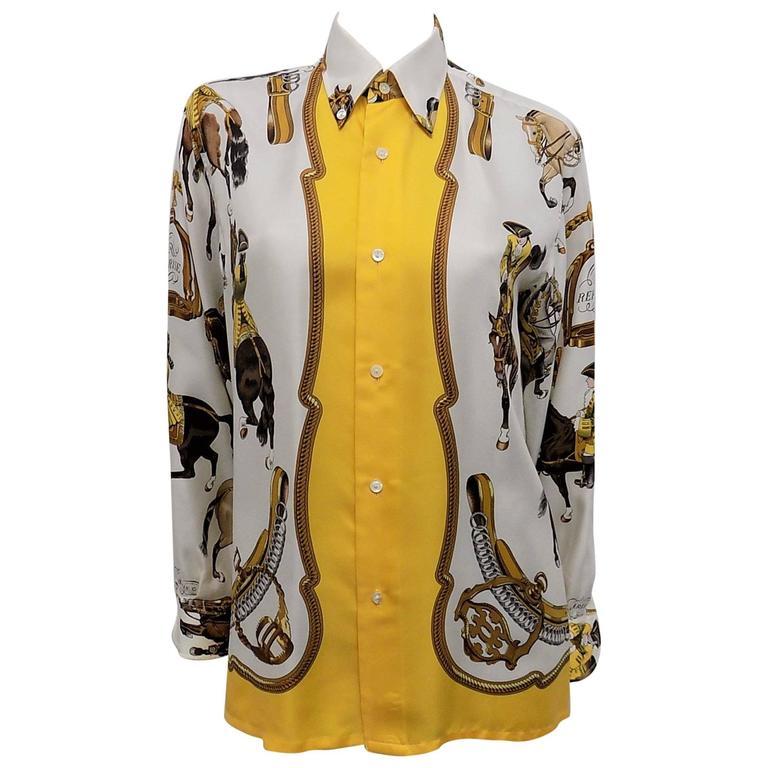 """Hermes vintage silk equestrian buttondown shirt blouse """"Reprise"""".for men 1"""