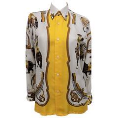 """Hermes vintage silk equestrian buttondown shirt blouse """"Reprise"""".for men"""