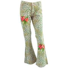 Blumarine Pink and Green Embroidered Animal Print Jeans - 42