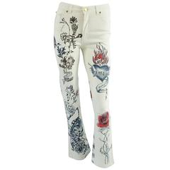 Roberto Cavalli White and Multi Printed Jeans - S - NWT