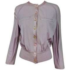 Vintage Valentino lavender soft cashmere wool knit sweater with satin trim 1980s