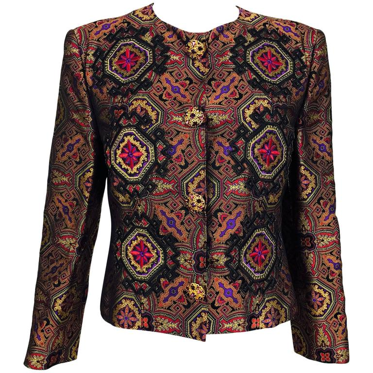 Vintage Christian LaCroix jewel tone brocade jacket jewel buttons 1980s