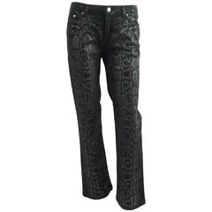 Roberto Cavalli Black Jeans with Snake Print - S - NWT