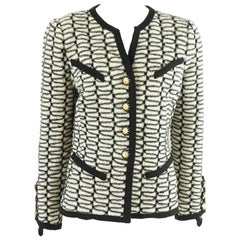 Adolfo Black and Ivory Print Knitted Jacket - M - Circa 70's