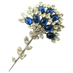 Christian Dior large paste cabuchon brooch, 1960.