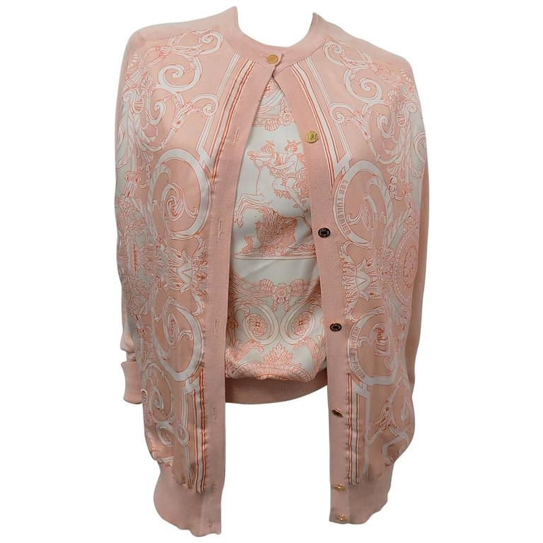 Hermes Les Tuileries Vintage two piece Cashmere and Silk Sweater Set  For Sale