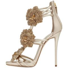 Giuseppe Zanotti New Gold Leather Crystal Flower Evening Sandals Heels in Box
