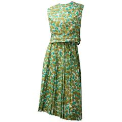 60s Midi with Knife Pleat Skirt Two Piece Formal Summer Set Green Abstract Print