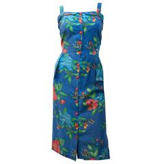 50s Seersucker Floral Print Button Front Summer Dress
