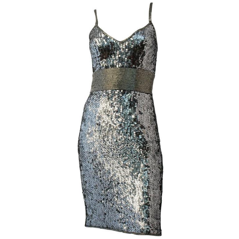 1970s Silver Sequin Disco Mini Dress