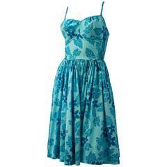 50s Blue Floral Hawaiian Dress