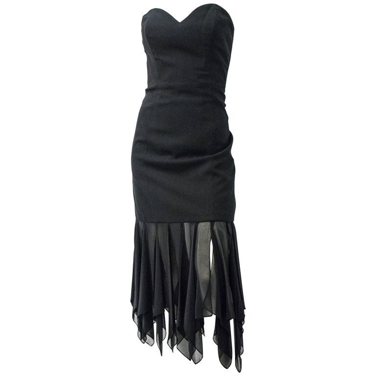 80s I Magnin Black Strapless Dress with Handkerchief Chiffon Hem For Sale