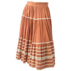 50s Mexican Peach Gauze Full Circle Skirt