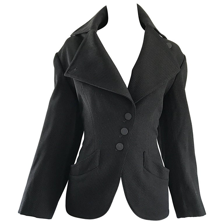 Rare Vintage Alaia 1980s Musuem Held Avant Garde Wasp Waist 80s Fitted Jacket For Sale