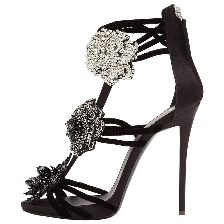 1e798c6c6dca3 Giuseppe Zanotti New Black Crystal Flower Evening Sandals Heels For Sale
